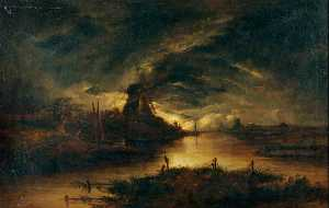 John Berney Crome - Moonlight on the Yare, Norfolk