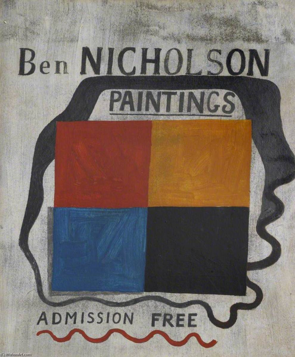 Exhibition Sign, Oil by Ben Nicholson (1894-1982, United Kingdom)