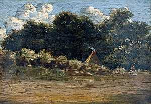 John Berney Crome - Landscape with Trees and a Cottage at Felbrigg, Norfolk