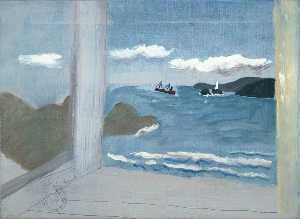 Ben Nicholson - 1931 (St Ives Bay sea with boats)