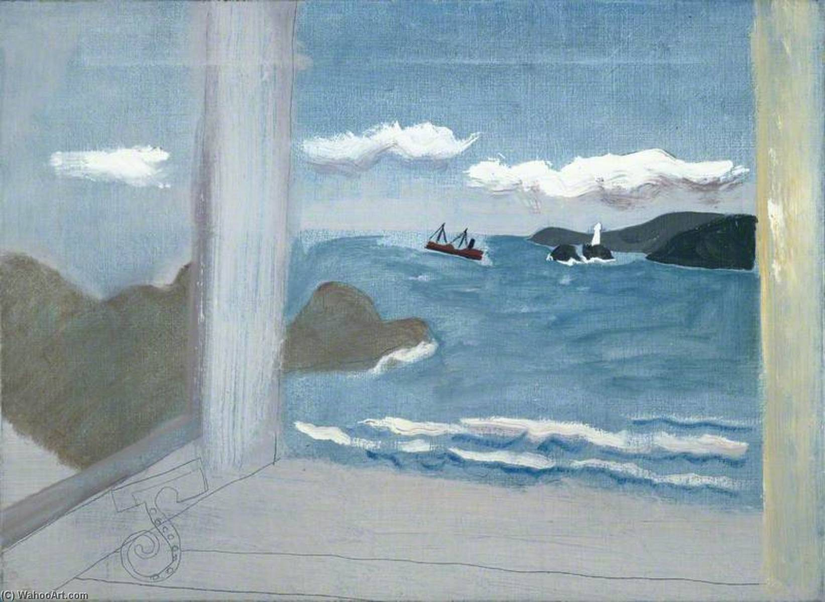 1931 (St Ives Bay sea with boats), Pen by Ben Nicholson (1894-1982, United Kingdom)