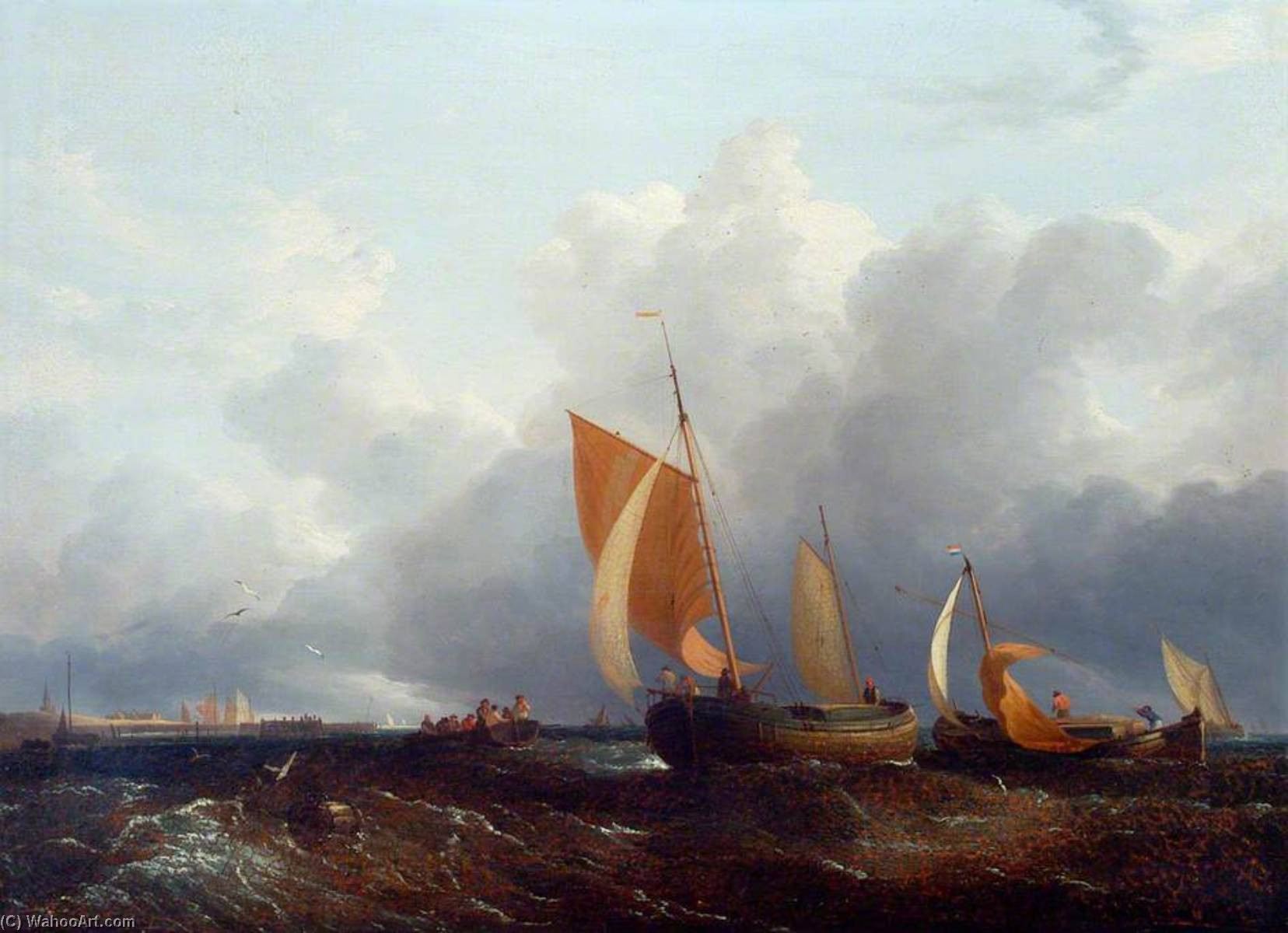 Shipping Boats in the Breeze off the Norfolk Coast by John Berney Crome (1768-1821) | Painting Copy | WahooArt.com