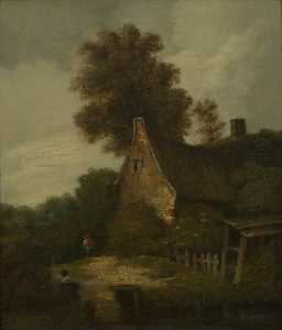 John Berney Crome - Landscape with a Cottage and Figures