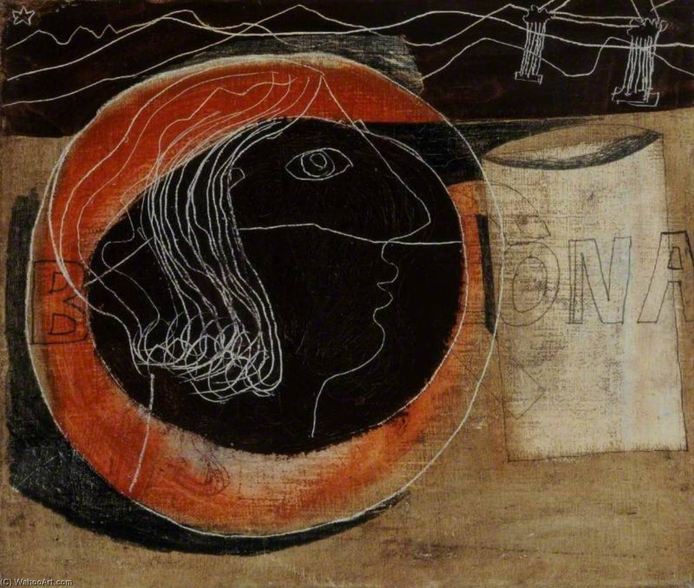 1932 (head and mug in a Greek landscape), Oil On Canvas by Ben Nicholson (1894-1982, United Kingdom)