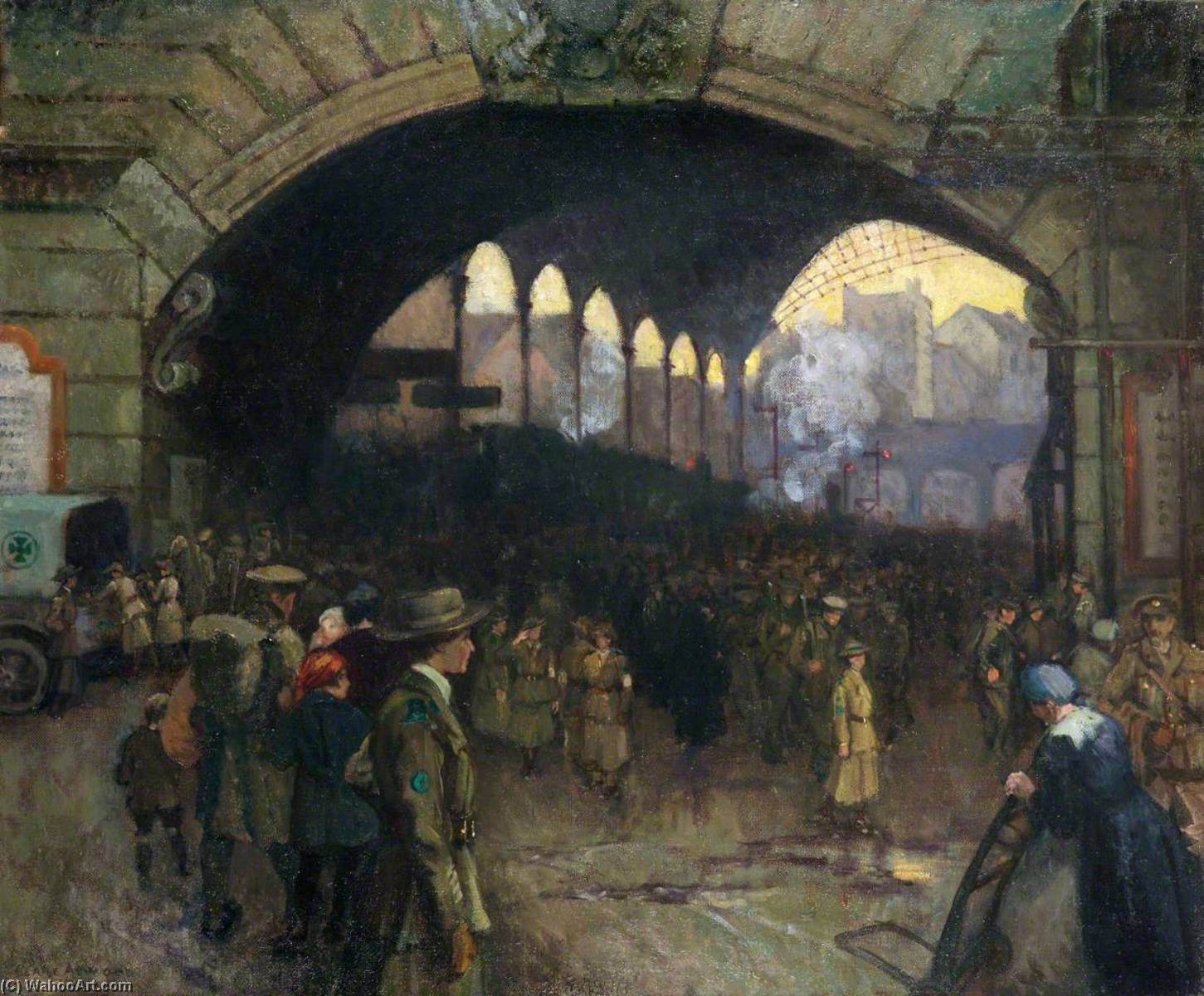 Victoria Station, 1918 The Green Cross Corps (Women's Reserve Ambulance), Guiding Soldiers on Leave, Oil On Canvas by Clare Atwood (1866-1962, United Kingdom)