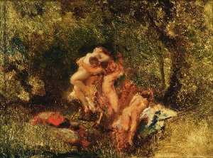 Narcisso Díaz De La Peña - Nymphs and Satyrs