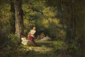 Narcisso Díaz De La Peña - Four Nymphs in a Wood