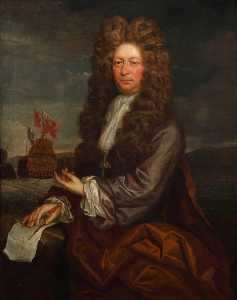 Jonathan Richardson The Elder - Fisher Harding (active 1698–1701), Master Shipwright, with the Launch of the -Royal Sovereign-, 1701