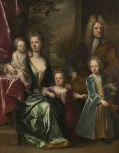 Jonathan Richardson The Elder - The Dryden Family Edward Dryden (d.1717), His Wife, Elizabeth Allen and Their Children, John Dryden (c.1704–1770), Later Sir John Dryden, 7th Bt Bevill Dryden (d.1758) and Mary Dryden, Later Mrs Allen Puleston