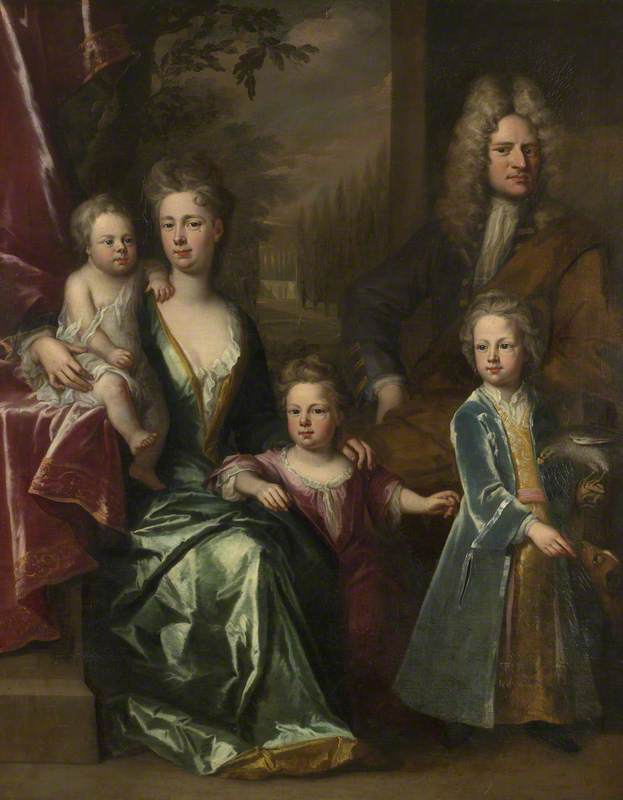 Order Museum Quality Reproductions : The Dryden Family Edward Dryden (d.1717), His Wife, Elizabeth Allen and Their Children, John Dryden (c.1704–1770), Later Sir John Dryden, 7th Bt Bevill Dryden (d.1758) and Mary Dryden, Later Mrs Allen Puleston, 1710 by Jonathan Richardson The Elder (1667-1745) | WahooArt.com
