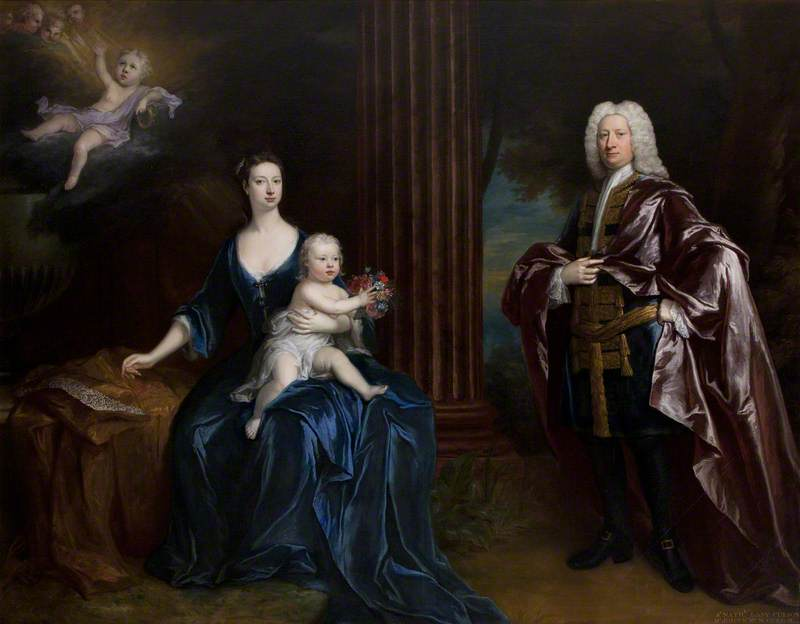 Sir Nathaniel Curzon (1676–1758), 4th Bt Curzon, with His Wife, Mary Assheton (1695–1776), Lady Curzon, and Their Son Nathaniel (1726–1804), Later Nathaniel Curzon, 1st Baron Scarsdale, with Their Dead Son John Curzon (1719–1720), in the Clouds above, 1730 by Jonathan Richardson The Elder (1667-1745) | Art Reproduction | WahooArt.com