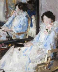 Francis Campbell Boileau Cadell - Girl in Blue (Reflections)