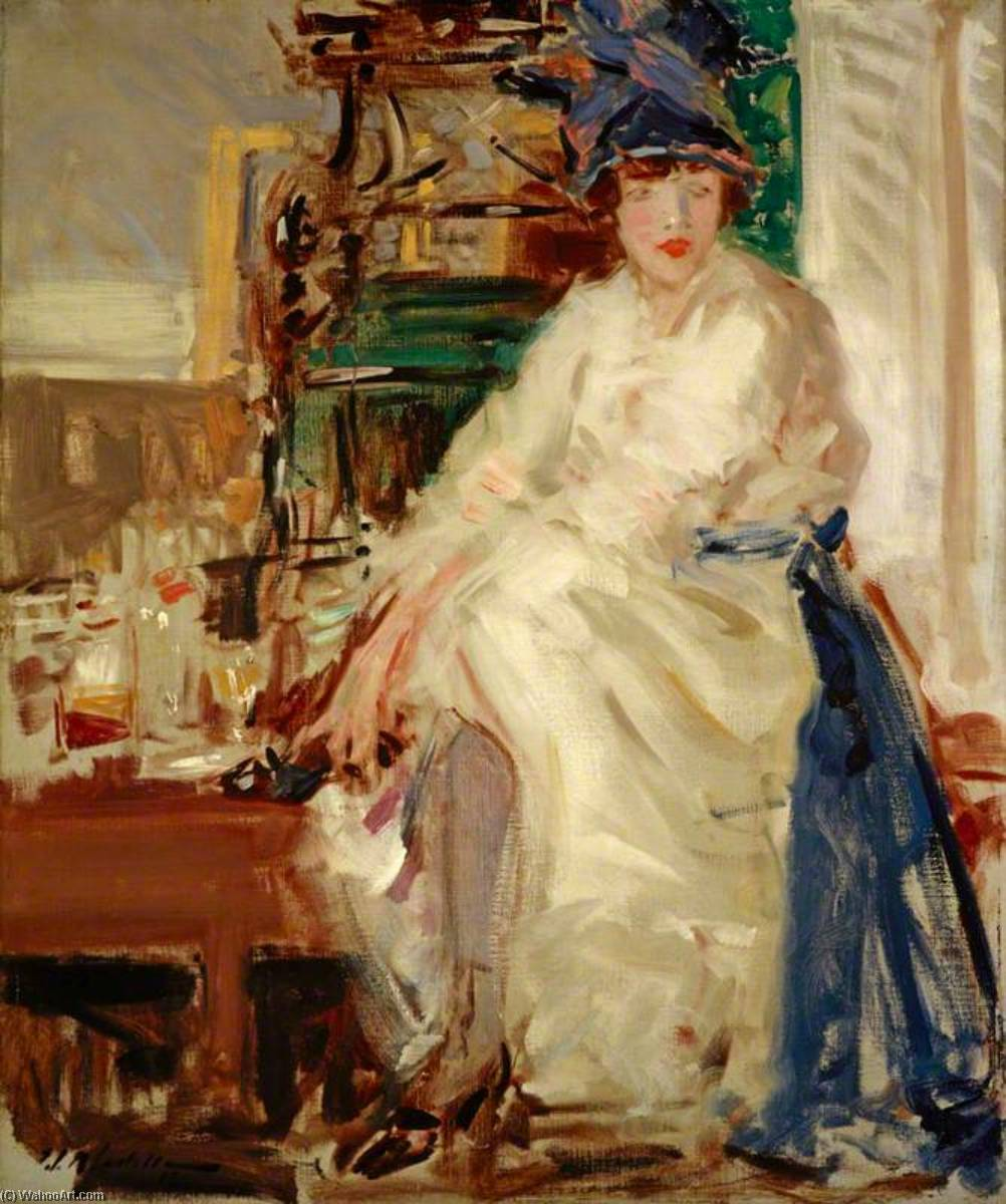 Peggy in Blue and White, Oil On Canvas by Francis Campbell Boileau Cadell (1883-1937)