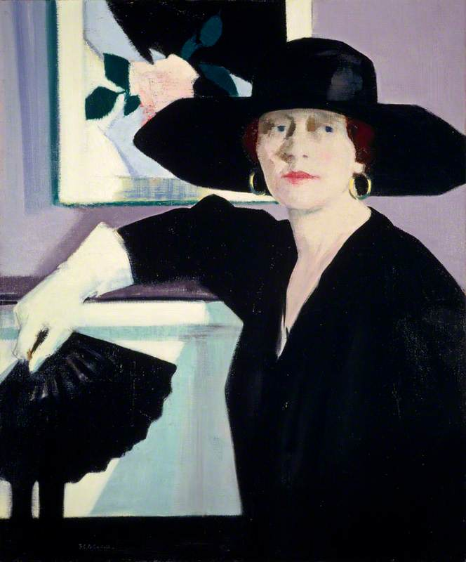 Portrait of a Lady in Black, Oil On Canvas by Francis Campbell Boileau Cadell (1883-1937)