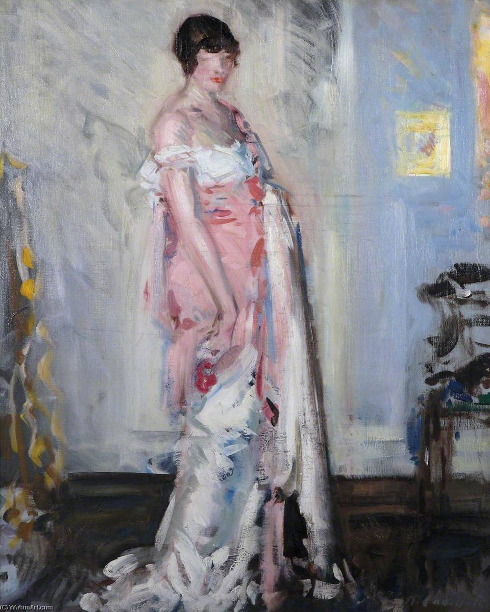 Girl in Pink and White, Oil On Canvas by Francis Campbell Boileau Cadell  (order Fine Art oil painting Francis Campbell Boileau Cadell)