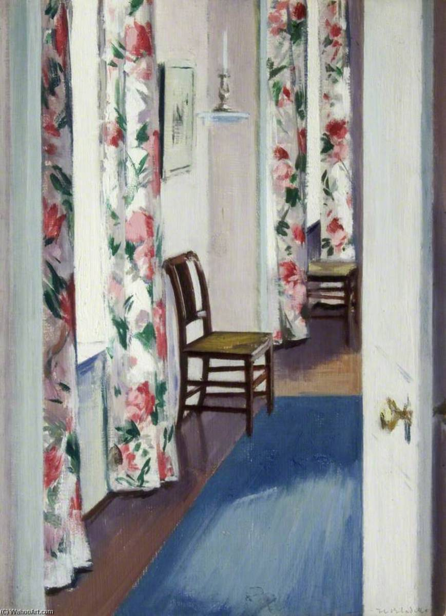 Chintz Curtains, Oil by Francis Campbell Boileau Cadell (1883-1937)