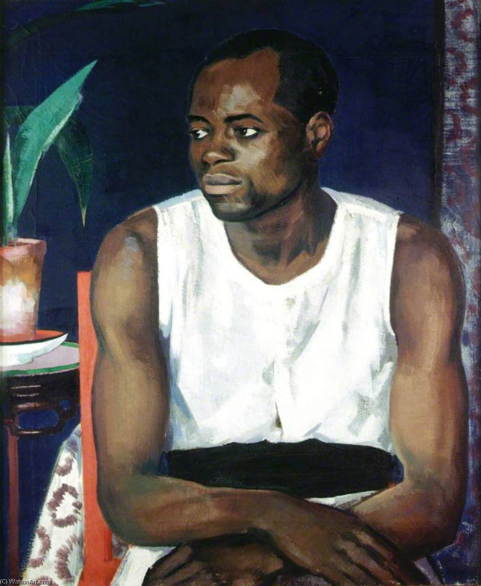 Negro in White, Oil On Canvas by Francis Campbell Boileau Cadell (1883-1937)
