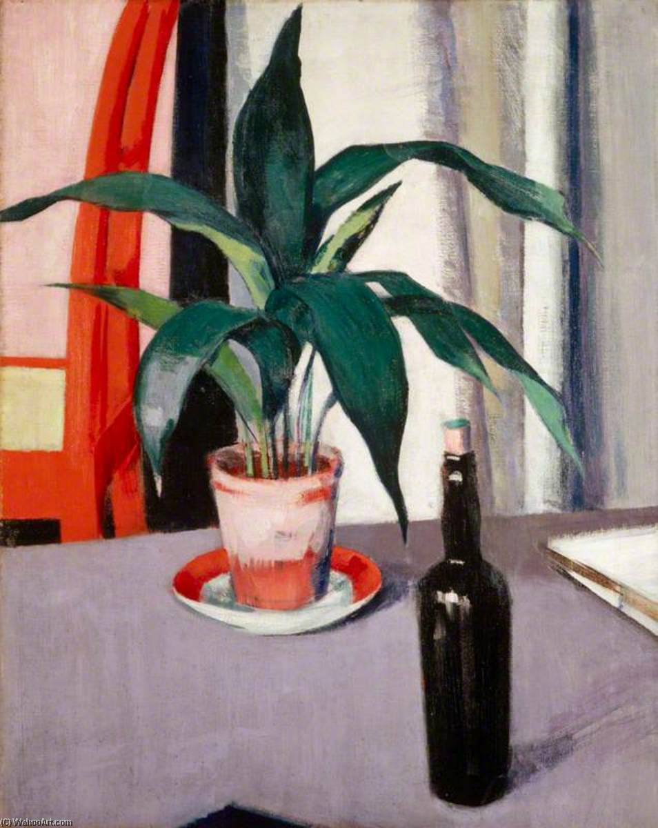 Aspidistra and Bottle on Table, 1920 by Francis Campbell Boileau Cadell (1883-1937) | Painting Copy | WahooArt.com