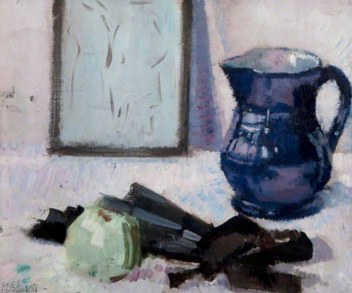 Still Life with Blue Jug, Fan and an Apple by Francis Campbell Boileau Cadell (1883-1937) | WahooArt.com