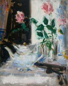 Francis Campbell Boileau Cadell - Pink Roses and Teapot