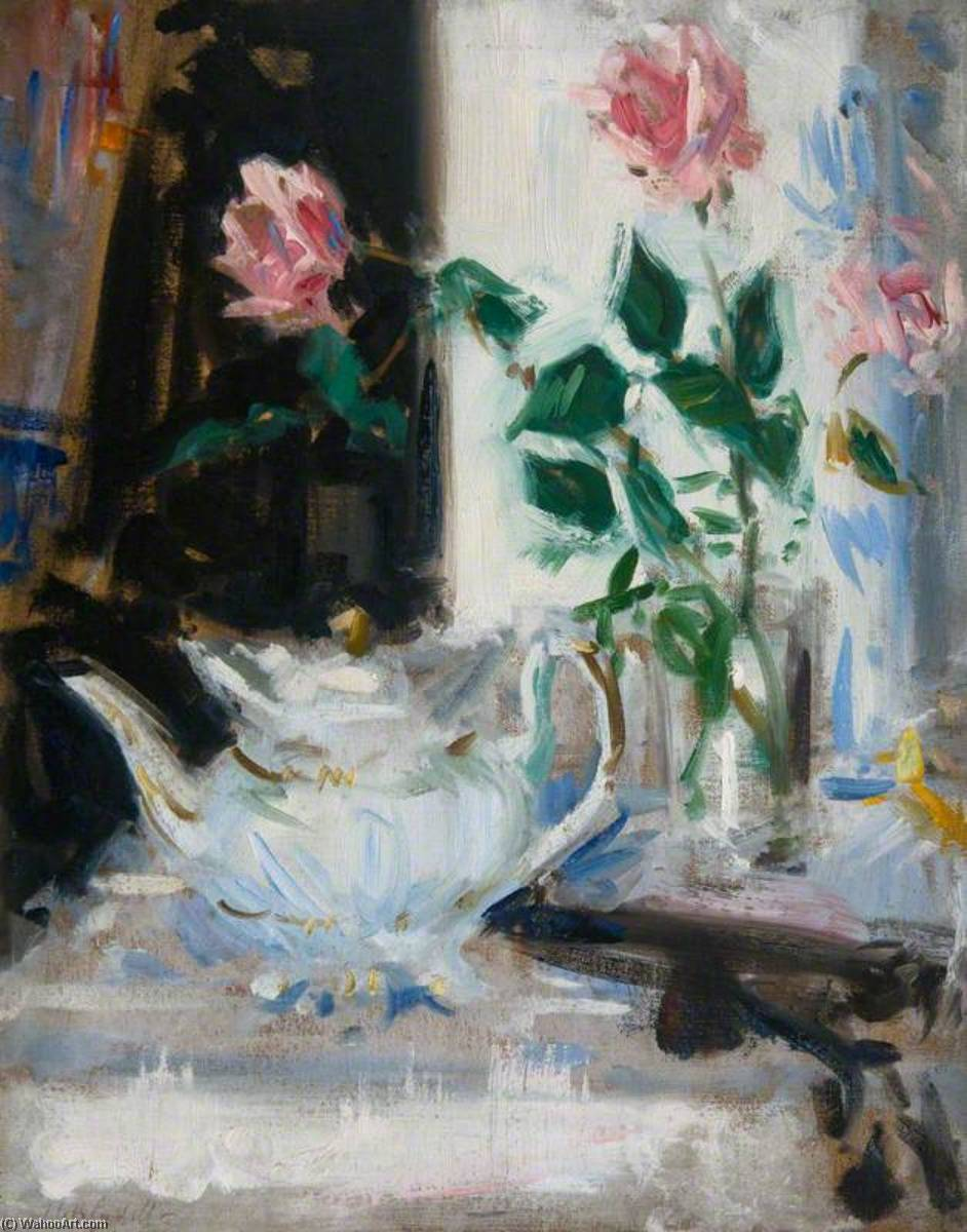 Pink Roses and Teapot by Francis Campbell Boileau Cadell (1883-1937) | Famous Paintings Reproductions | WahooArt.com