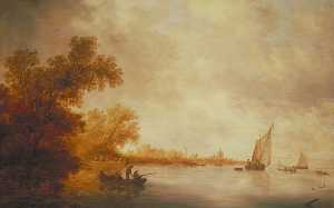 Salomon Van Ruysdael - View of the River Lek with Boats and a Castle, Liesveld, The Netherlands
