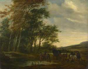 Salomon Van Ruysdael - A Landscape with a Carriage and Horsemen at a Pool