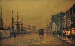 John Atkinson Grimshaw - The Custom House, Liverpool, Looking North