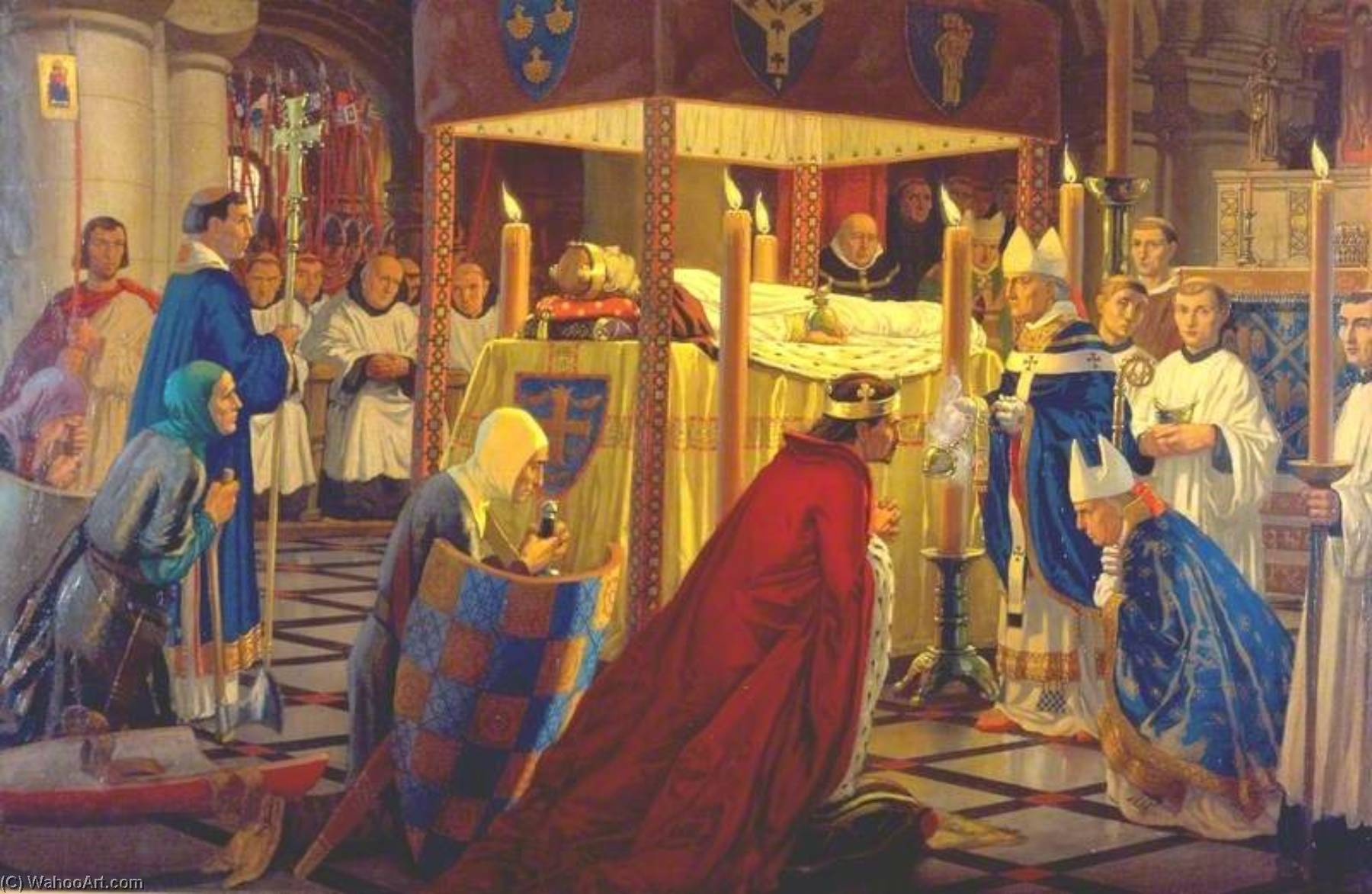 The Burial of Henry I at Reading Abbey, 4 January 1136, 1916 by Harry Morley (1881-1943) | Oil Painting | WahooArt.com