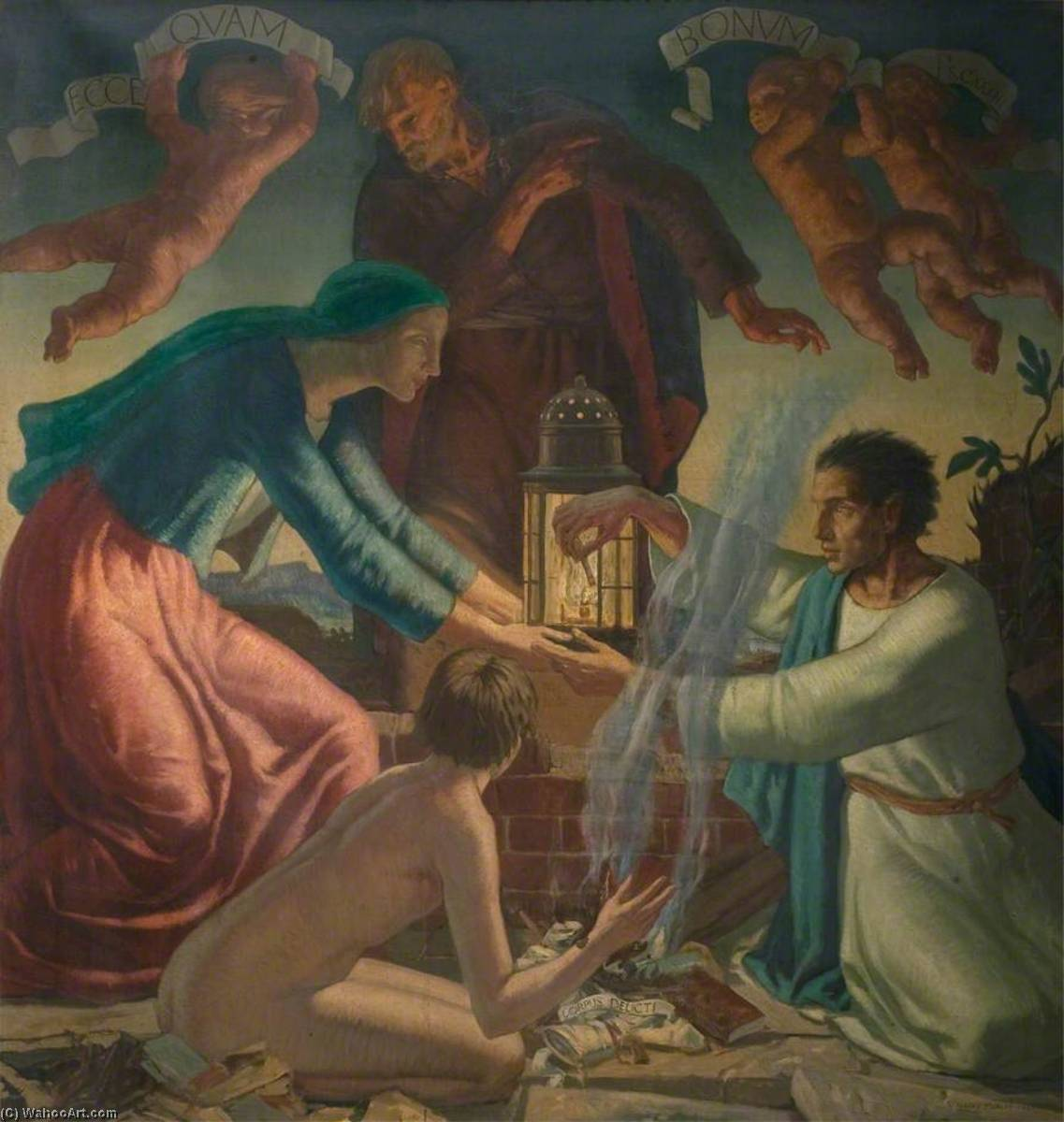 Lighting the Lamp of Peace, 1922 by Harry Morley (1881-1943) | Famous Paintings Reproductions | WahooArt.com
