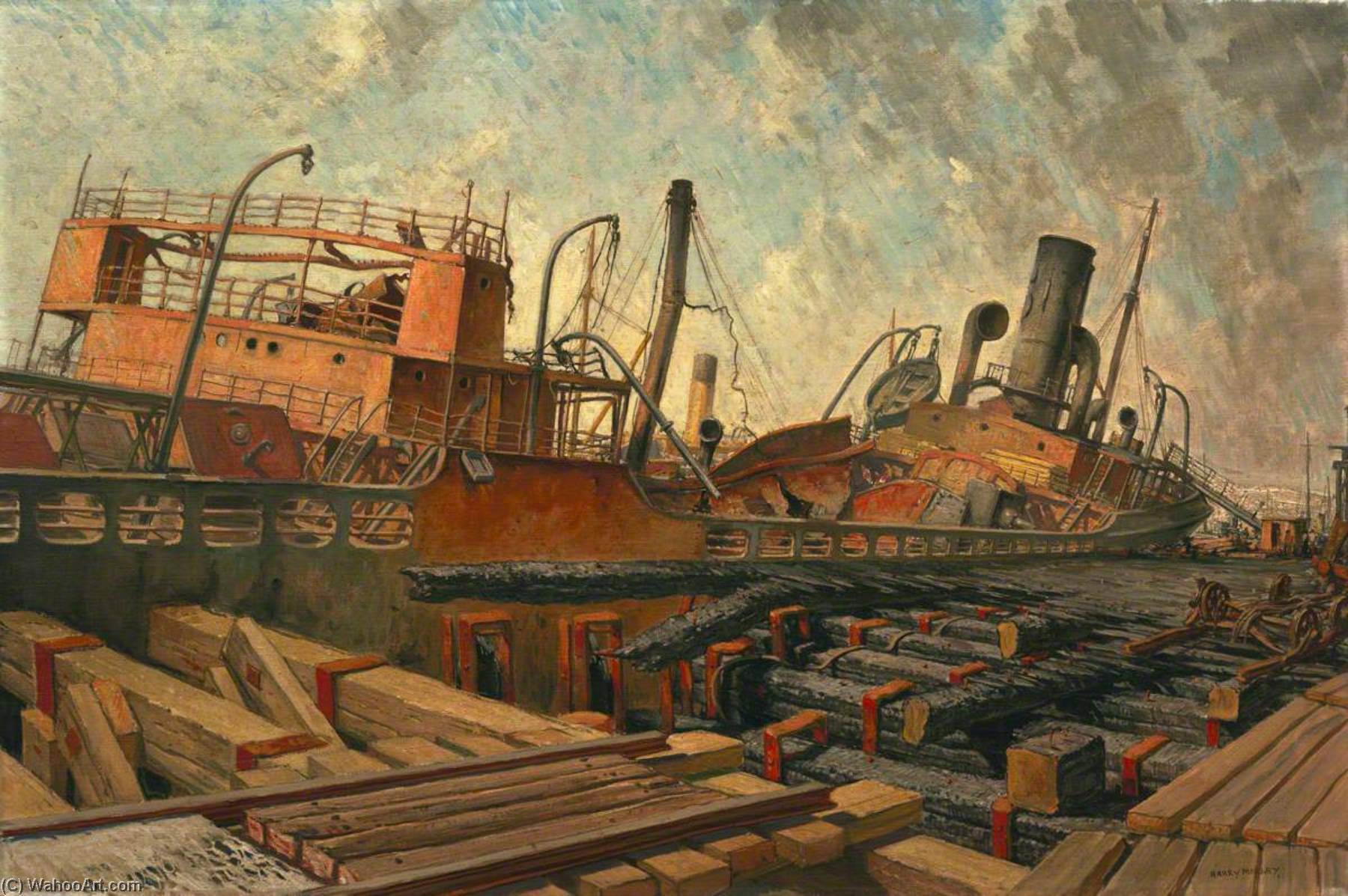 The Bombed SS 'Toscalusa' at a Western Port, Oil On Canvas by Harry Morley (1881-1943)