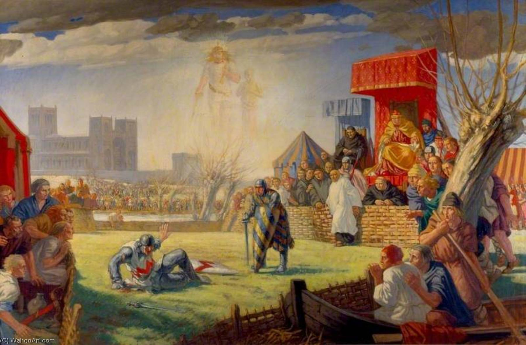 The Trial by Combat of Henry de Essex and Robert de Montfort at Reading, 8 April 1163, Oil On Canvas by Harry Morley (1881-1943)