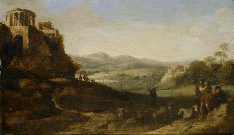 Shepherds in the Campagna, Oil On Panel by Cornelis Van Poelenburgh (1595-1667, Netherlands)