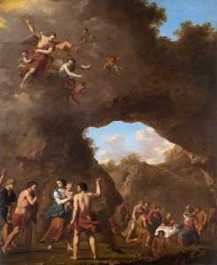 Cornelis Van Poelenburgh - The Angels Guiding the Shepherds to the Nativity