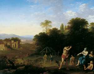 Cornelis Van Poelenburgh - Landscape with Classical Figures