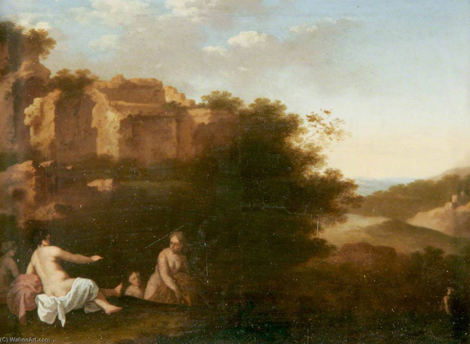 Nymphs Bathing in a Southern Landscape, Oil On Panel by Cornelis Van Poelenburgh (1595-1667, Netherlands)