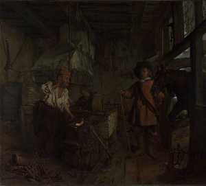 Gabriel Metsu - The Interior of a Smithy