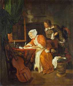 Gabriel Metsu - The Letter Writer Surprised