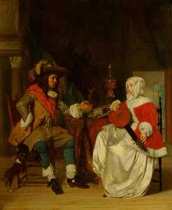 Gabriel Metsu - The Tête à Tête A Lady Playing a Lute, and a Cavalier