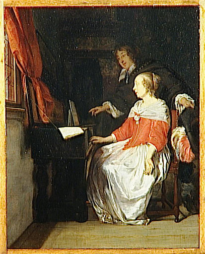 LA LECON DE VIRGINAL by Gabriel Metsu (1629-1667, Netherlands) | Painting Copy | WahooArt.com