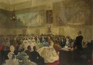 Anna Katrina Zinkeisen - The Prince Consort, President of the Society of Arts, Presenting Medals in the Society's Hall in 1849