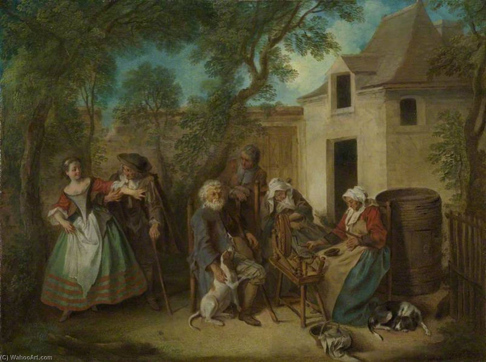 The Four Ages of Man Old Age, 1735 by Nicolas Lancret (1690-1743, France) | Famous Paintings Reproductions | WahooArt.com