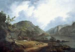John Rathbone - Mountain Landscape with Cattle and Resting Herdsman