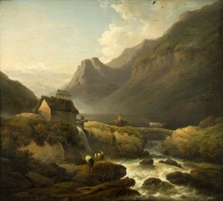A Mountain Stream with a Peasant Driving Cattle over a Rustic Bridge, 1797 by John Rathbone | Paintings Reproductions John Rathbone | WahooArt.com