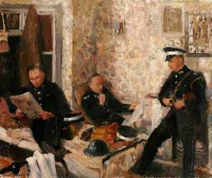 Rupert Shephard - First Aid Post, with Three St John Ambulance Brigade Men in a Domestic Interior