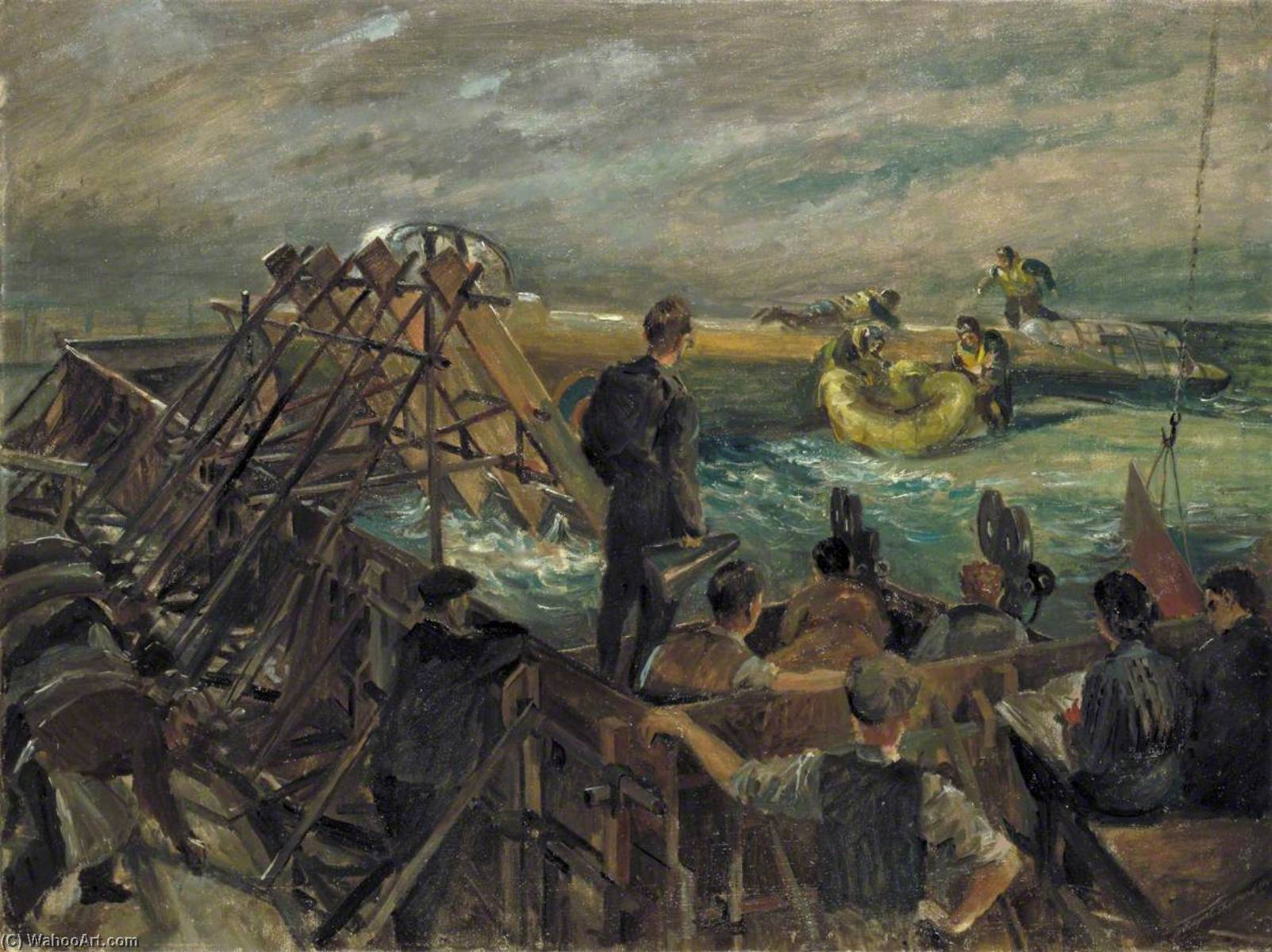 Filming a Practice Launching of a Rubber Dinghy in a Training Pond, 1944 by Rupert Shephard (1909-1992, United Kingdom) | Oil Painting | WahooArt.com