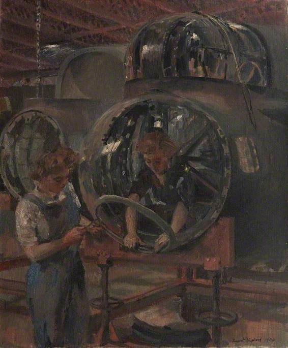 A Nose Section after Repair Girls Fitting Supports to Take the Bomb Aimer`s Window, 1944 by Rupert Shephard (1909-1992, United Kingdom) |  | WahooArt.com