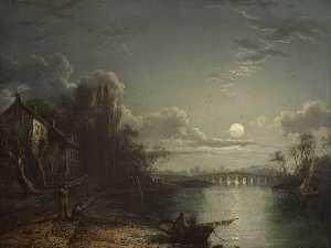 Sebastian Pether - Walton Bridge by Moonlight