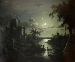 Sebastian Pether - Moonlit River Landscape with a Castle, a Windmill, and Boatmen