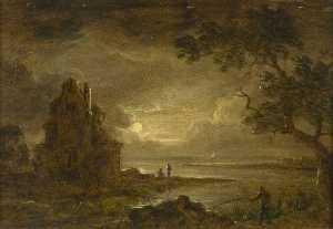 Sebastian Pether - Lake Scene, Moonlight